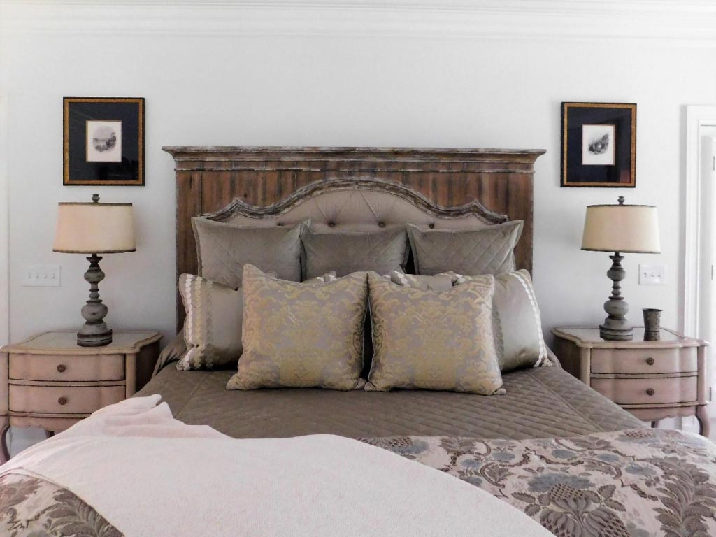 Bed display with sheets and pillow gray accents interior design
