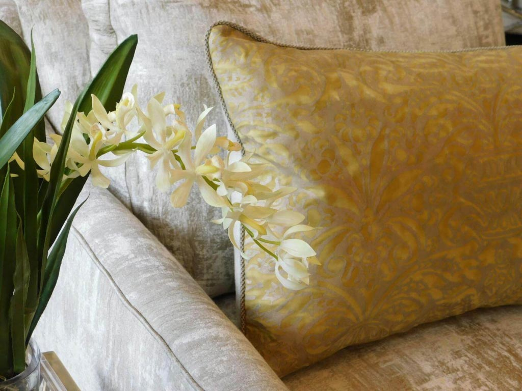 yellow plush pillow livening up sofa interior design enhancing memory and mood