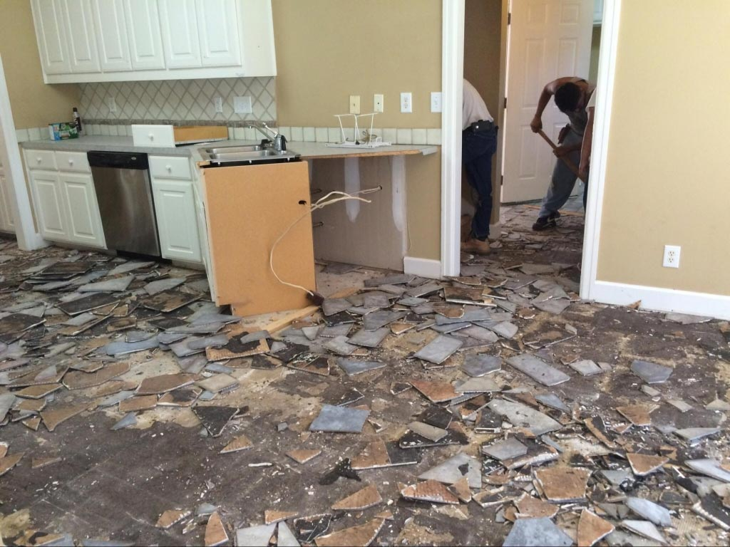 kitchen tile removal during renovation